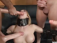 Slut in collar and stockings boned in a gangbang tubes