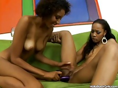 Hot skinny black chicks take toys in pussies tube