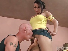 Sexy tranny in tube top gets her dick sucked tubes