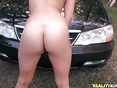Hardcore sex bent over the hood of a car tubes