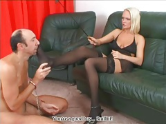 He licks her pretty feet in black stockings tubes