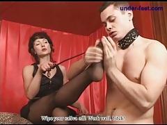 Black pantyhose on mistress he worships tubes