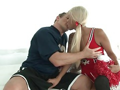 Gorgeous transsexual cheerleader sucks thick cock tube