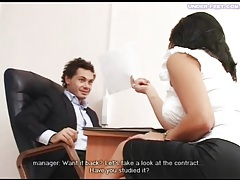 Girl in heels dominates him in office tubes