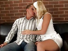 Chick in short white skirt sucks a dick tubes