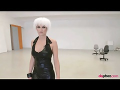 Sexy strip from her black leather dress tubes