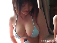 Three cuties in bikinis use vibrating massager tubes