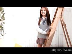 Beautiful Japanese schoolgirl flashes outdoors tubes