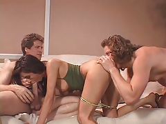 Sexy wife in threesome as husband watches tubes