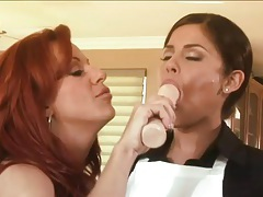 Redhead milf has a lesbian 69 with a young brunette tubes