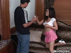 He gets his dick sucked by a cute Asian chick tubes