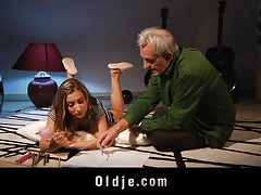 Young Celine Doll learns English form old cock tubes