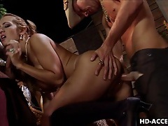 Anal slut with big tits and double penetration tubes