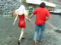 He goes down on hot blonde in red satin dress tubes