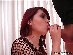 Redheaded slut in fishnets sucks a hot dick tubes