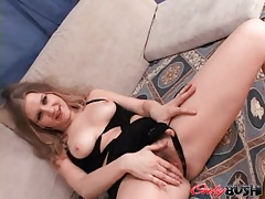Slutty looking chick with perky tits sucks dick tubes