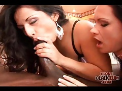 Arousing interracial threesome sex scene with babes tubes