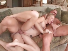 Cock in mouth as another takes her cunt and ass tubes