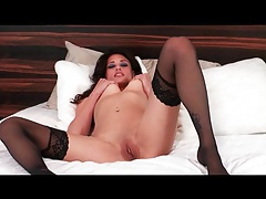 Long legs in black stockings as she toy fucks tubes