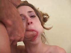 Hard throat fucking makes blonde girl gag tubes