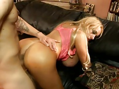 Gigantic fake tits on a blonde milf doing sex tubes