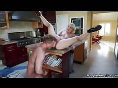 Pornstar Ash Hollywood fucked on kitchen counter tubes