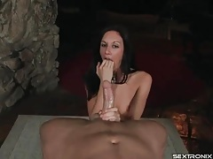 Stroking and sucking cock while sitting on him tubes