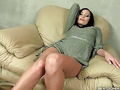 Glam girl striptease from thin sweater dress tubes