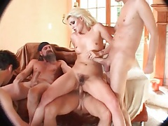 Hairy bitch fucked in all holes in gangbang tubes