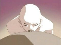 Muscular man served by his bald hentai slaves tubes