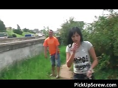 Sexy brunette hoe gets picked up on the street for outdoor cock sucking and cunt banging tubes