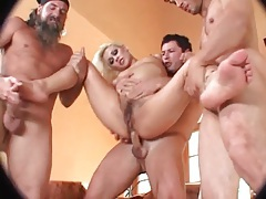 Hairy young blonde slut laid in the asshole tubes