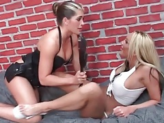 Busty babe lesbian sex with erotic licking tubes