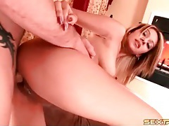Hard dick bangs pierced pussy from behind tubes