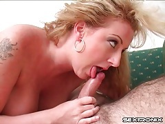 Curvy blonde sucks cock to get a load in her mouth tubes