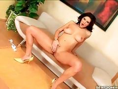 Glamorous solo brunette in heels masturbates tubes