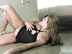 Footjob and anal sex with girl in a black dress tubes