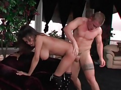 Making natural tits swing with doggystyle sex tubes