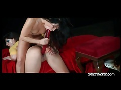 Sensual lesbian ladies using a massive red dildo tubes