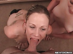 Two trashy sluts suck his dick in a pov video tubes