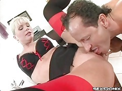 Office slut in sexy bra and stockings fucked tubes