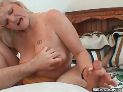 Mature masturbates his cock onto her face tubes