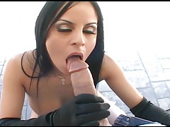 Brunette fucking in thigh high nylons and gloves tubes