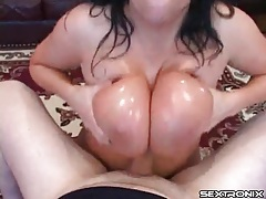 Big lubed tits give him pleasure in pov tubes