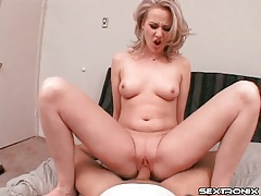 Sexy looking blonde slowly sits on his cock tubes