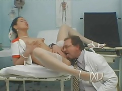 Nurse girl eaten out and fucked by old doctor tubes