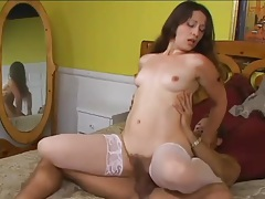 Sexy white stockings on hairy pussy girl tubes