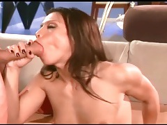 Jayna fucking in red fishnet stockings and heels tubes