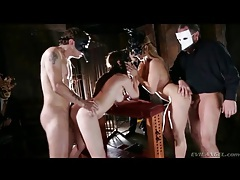 Two masked couples have doggystyle foursome tubes