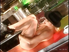 Blonde on bar plays with her pussy and tastes it tubes